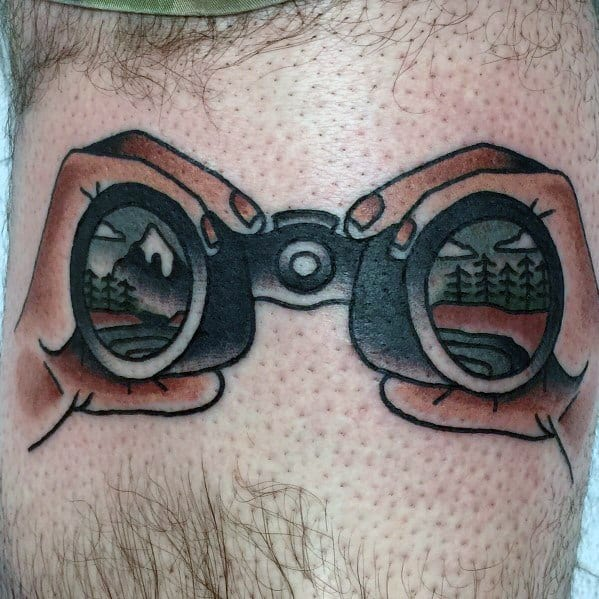 Guys Binoculars Nature View In Lens Old School Leg Tattoo Design Ideas