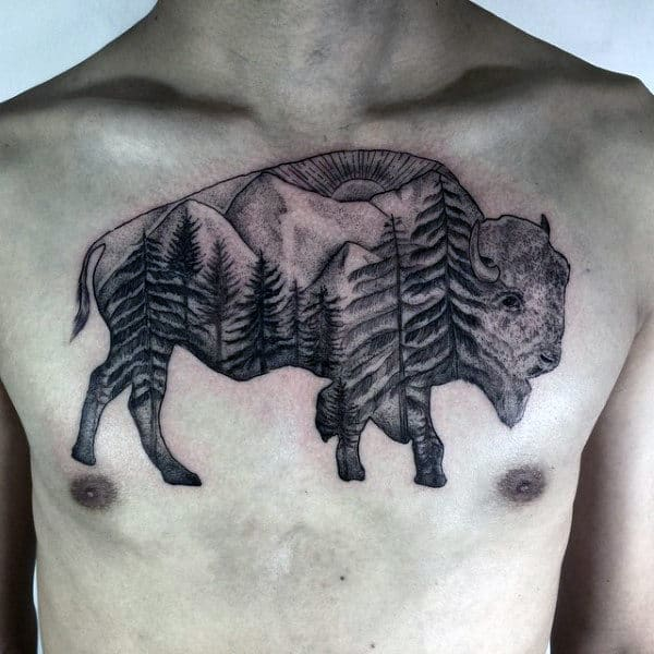 Guys Bison Pine Tree And Mountains Upper Chest Tattoo Ideas