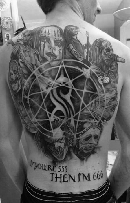 Guys Black And Grey Back Tattoos With Slipknot Design