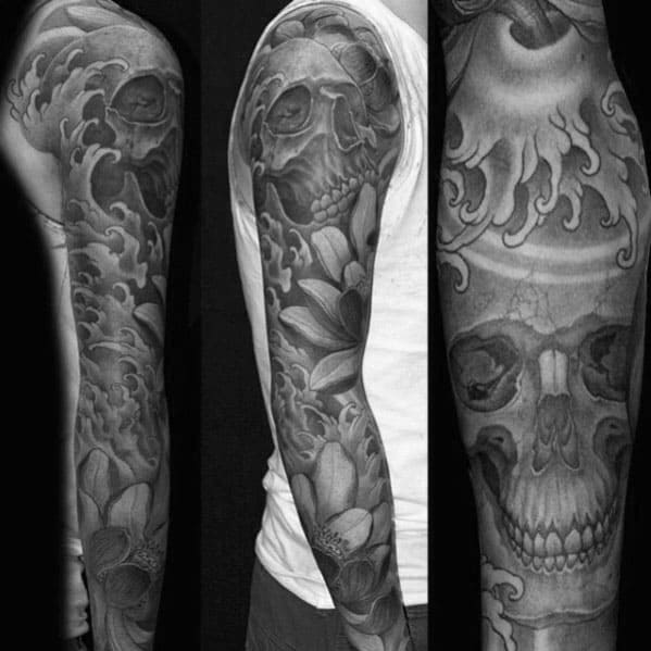 Guys Black And Grey Heavily Shaded Japanese Skull And Flower Sleeve Tattoo