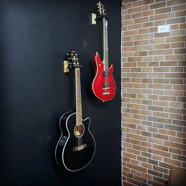 Guys Black And Red Hung Guitar On Wall Bachelor Pad Decor