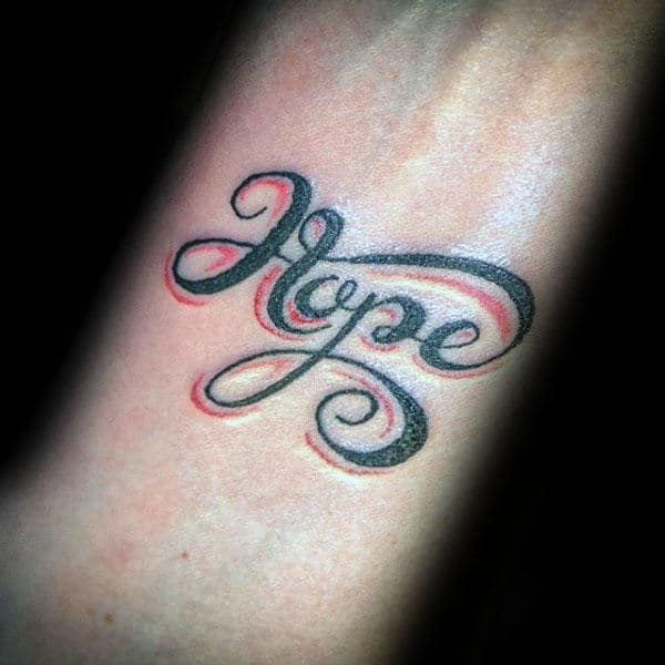 Guys Black And Red Ink Hope Inner Forearm Tattoos
