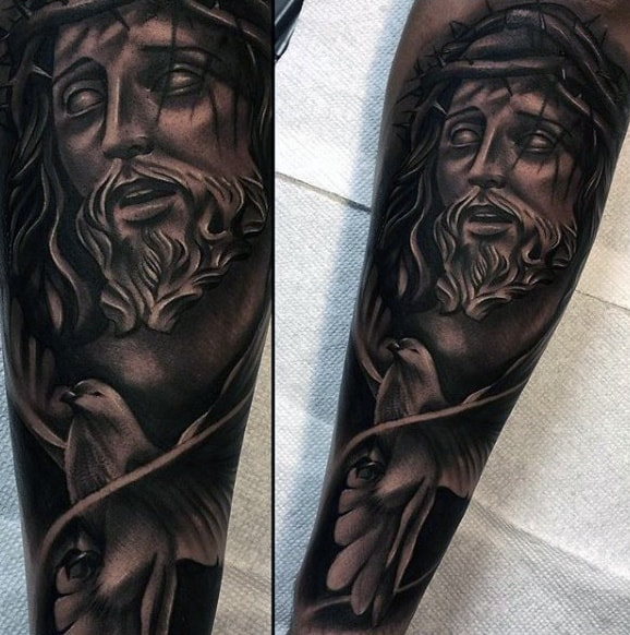 Guys Black And White Ink Shaded Jesus Christ Dove Tattoo On Forearm