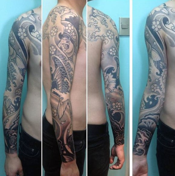 Guy's Black And White Koi Fish Tattoo