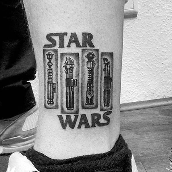 Guys Black Flag Star Wars Themed Lower Leg Tattoo Designs