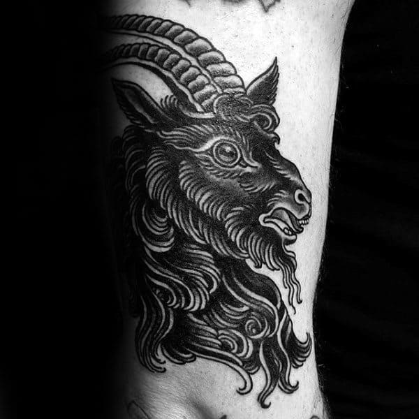 Guys Black Ink Goat Traditional Old School Arm Tattos