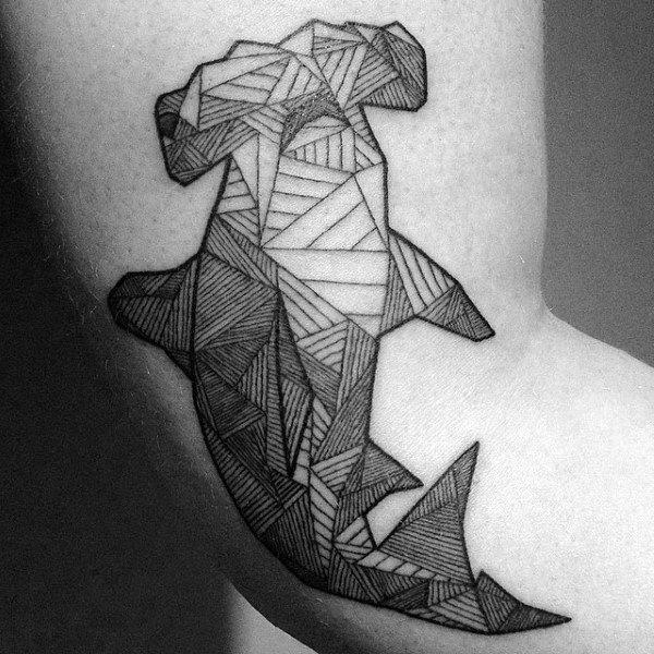 Guys Black Ink Lines Hammerhead Shark Arm Tattoo