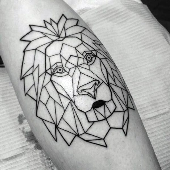 Guys Black Ink Outline Leg Geometric Lion Tattoo Design Idea Inspiration
