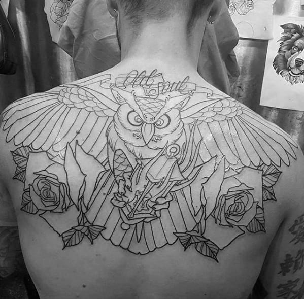 Guys Black Ink Outline Owl With Rose Flowers Tattoo On Back