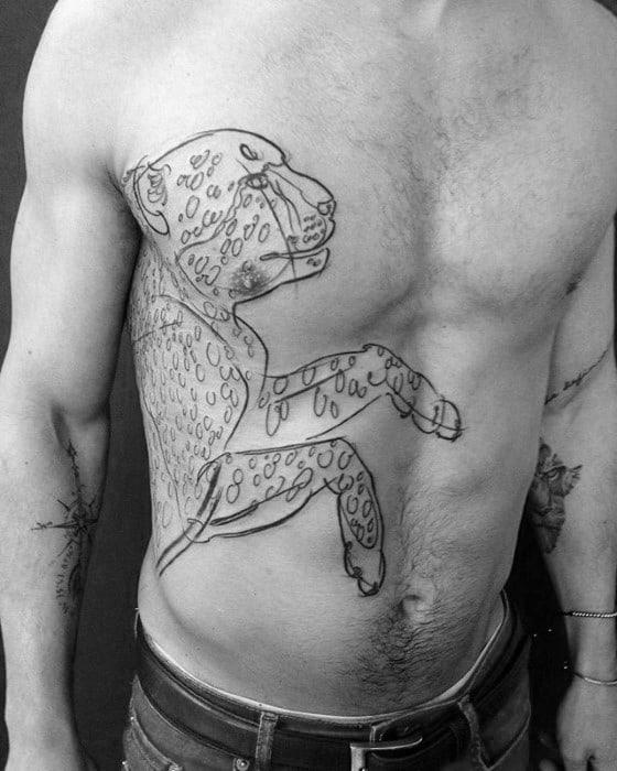 Guys Black Ink Outline Rib Cage Side Cheetah Tattoos