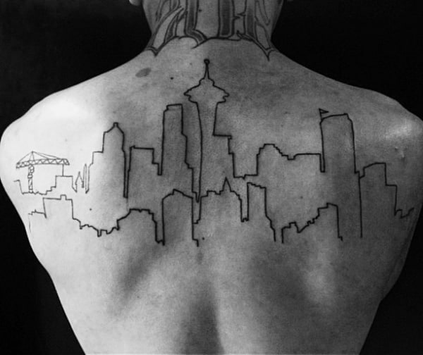 Guys Black Ink Outline Seattle Skyline Upper Back Tattoos