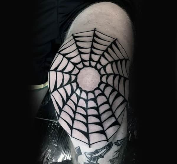 Guys Black Ink Spider Web Knee Tattoo On Male