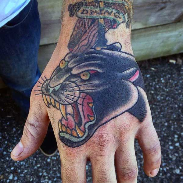 Guys Black Panther Tattoos Designs On Hands