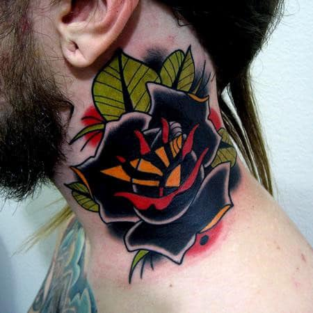 Guys Black Rose Neo Traditional Tattoo Ideas