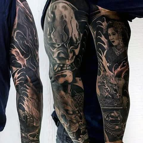 Guys Black Work Japanese Lady And Angry Samurai Mask Full Sleeve Tattoo