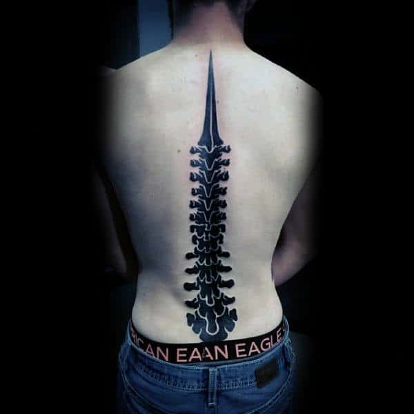 Guys Blackwork Spinal Cord Tattoo