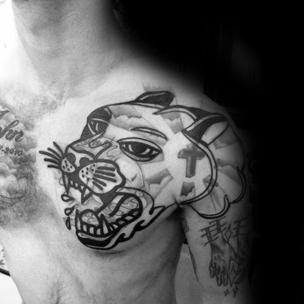 Guys Blast Over Tattoos With Panther Design On Shoulder
