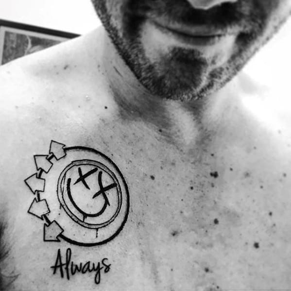 Guys Blink 182 Small Chest Tattoo Designs