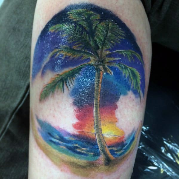 Guys Blue Waves Palm Tree Art Designs On Arms