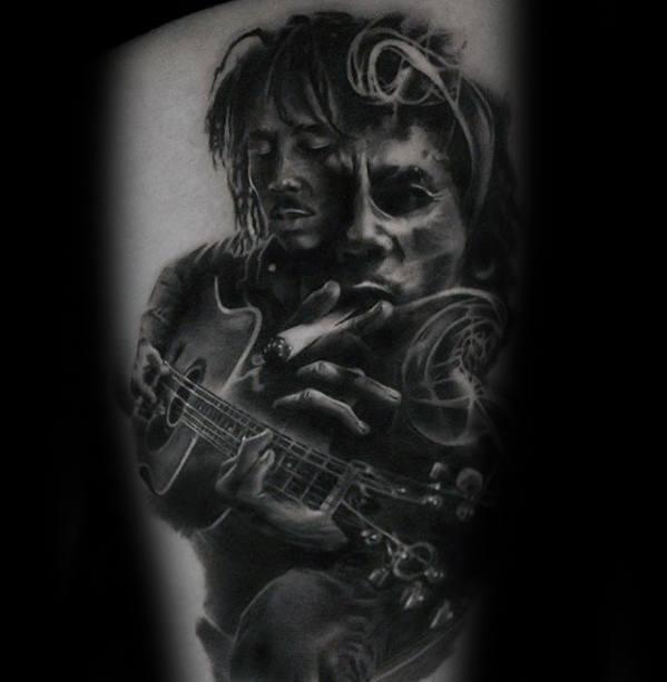 Guys Bob Marley Tattoo Design Ideas