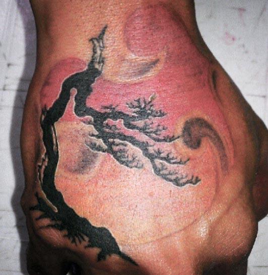 Guys Bonsai Tree Hand Tattoo With Black Ink
