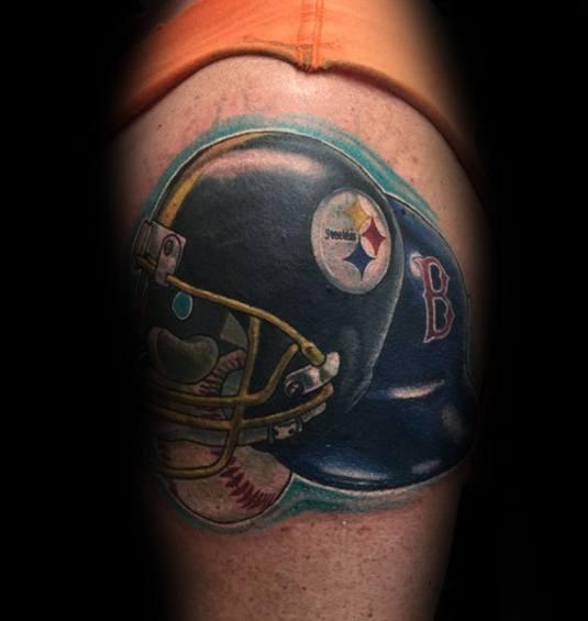 Guys Boston Red Sox Tattoo Deisgns Baseball Helmet On Arm