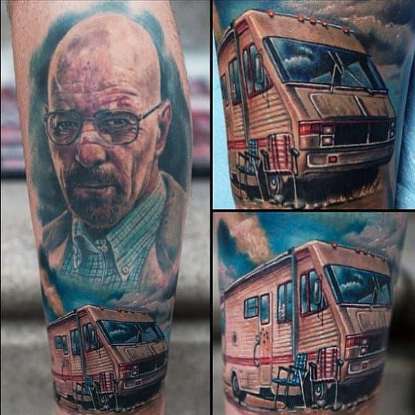 Guys Breaking Bad Van Leg Tattoos