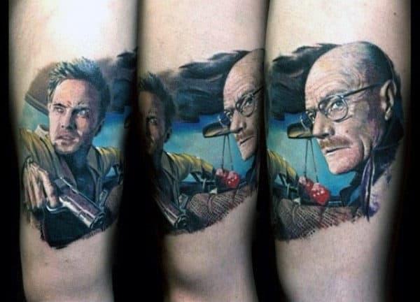 Guys Breaking Bad Walter White And Jessie Pinkman Arm Tattoo Design