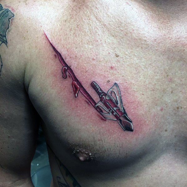 Guys Broadhead Chest Bowhunting Tattoo Designs