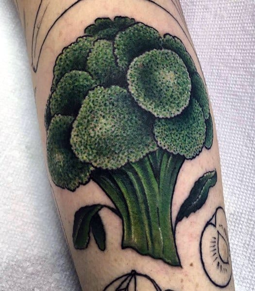 Guys Broccoli Tattoo Design Ideas On Leg