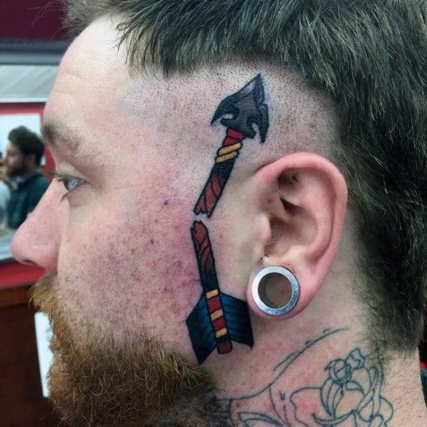 Guys Broken Arrow Face Tattoo
