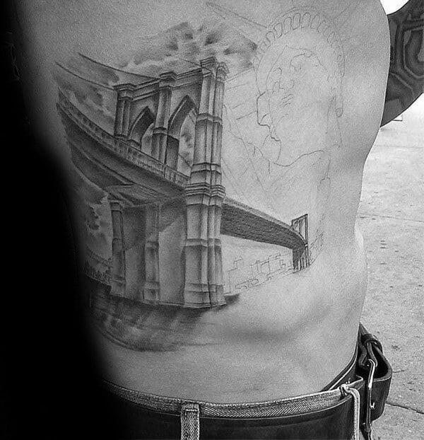 Guys Brooklyn Bridge Rib Cage Side Tattoos