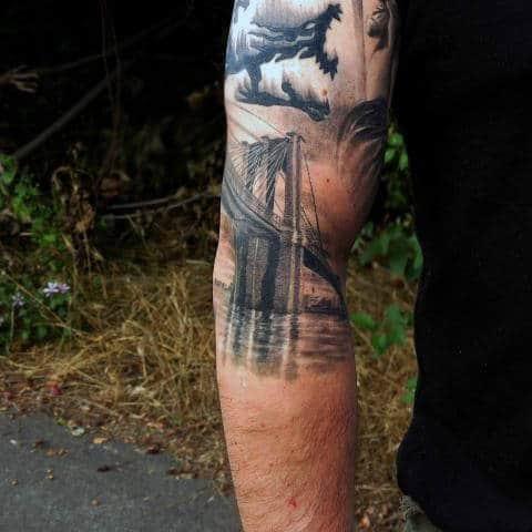 Guys Brooklyn Bridge Sleeve Tattoo Ideas