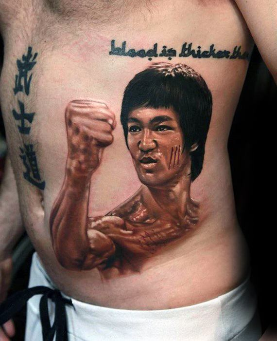 Guys Bruce Lee Tattoo 3d Rib Cage Side Of Body Design Ideas