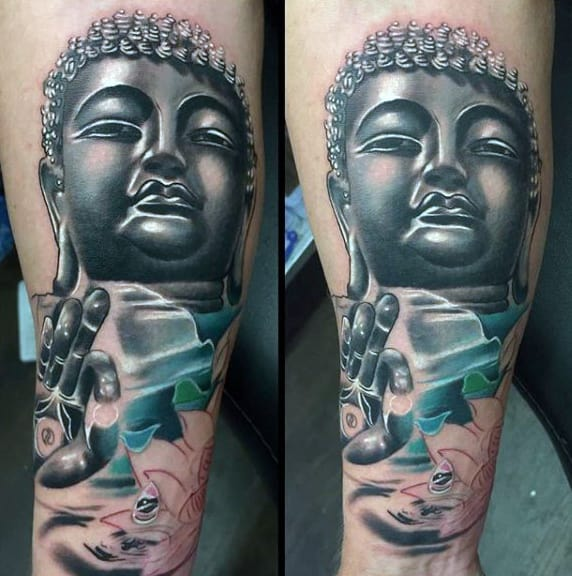Guys Buddha With Drop Offering Tattoo On Legs