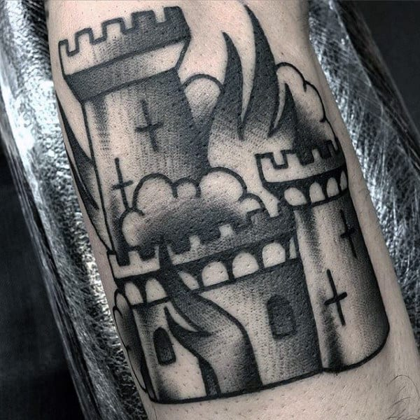 Guys Burning Castle Shaded Black Ink Tattoo