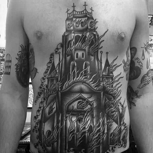 Guys Burning Church Tattoo Designs