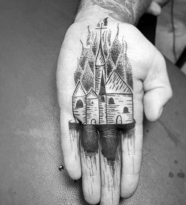 Guys Burning Church Tattoo