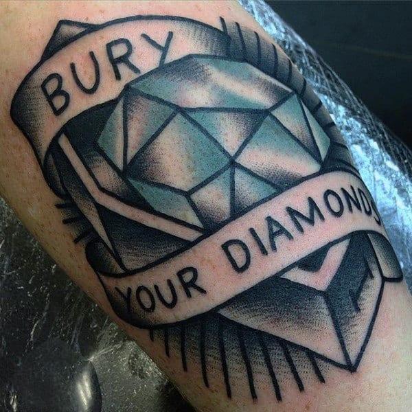 Guys Bury Your Diamond Old School Tattoo Design On Bicep