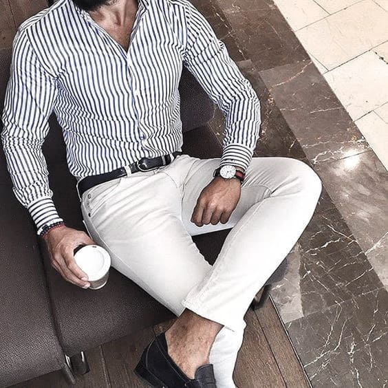 Guys Business Casual Outfits Style Designs Striped Blue Dress Shirt White Dress Pants