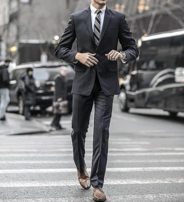 Guys Business Charcoal Grey Suit Brown Shoes Style