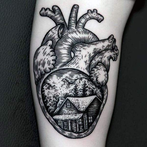 Guys Cabin In The Forest Heart Woodcut Arm Tattoos