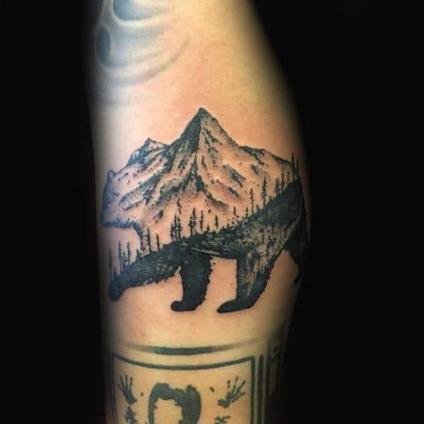 Guys California Bear With Mountain Design Tattoo On Arm