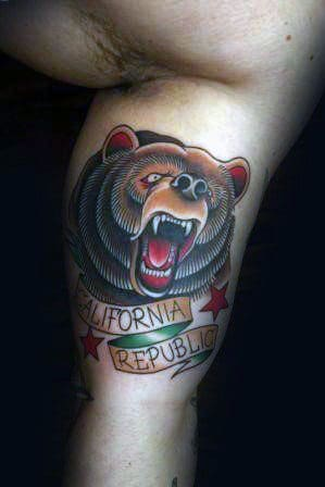 Guys California Repbulic Banner Old School Bear Tattoo