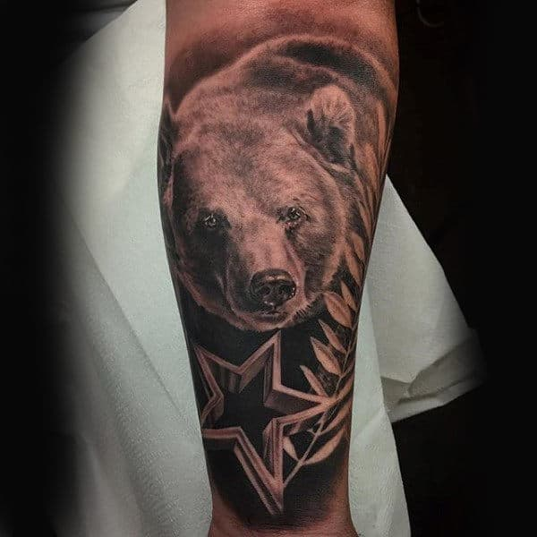 Guys California Shaded Bear Star Arm Tattoo