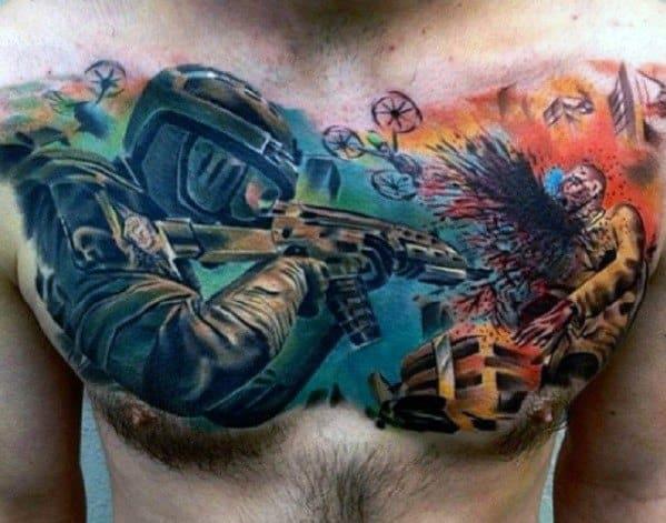 Guys Call Of Duty Tattoo Design Ideas Upper Chest 3d