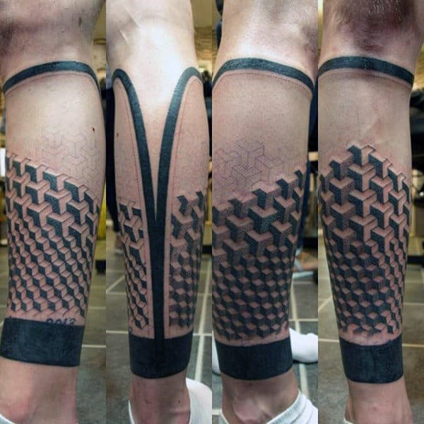Guys Calves 3D Pattern Tattoo