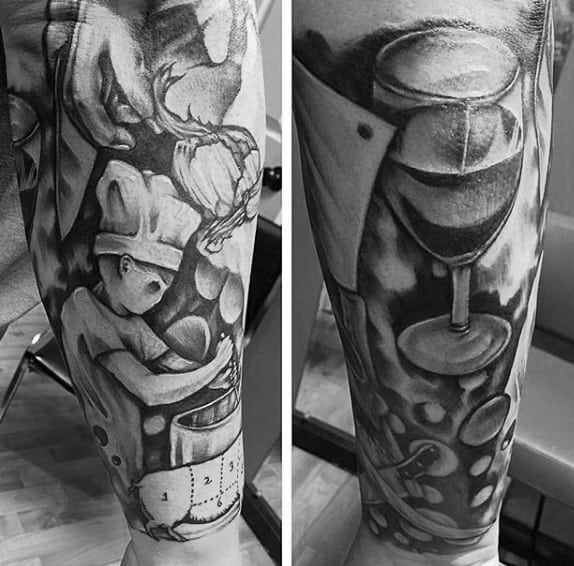 Guys Calves Amazing Grey Culinary Tattoos