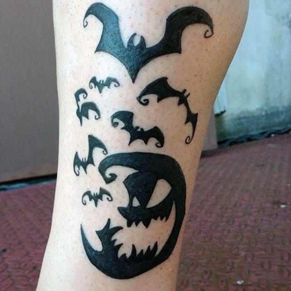 Guys Calves Black Bats And Halloween Pumpkin Tattoo