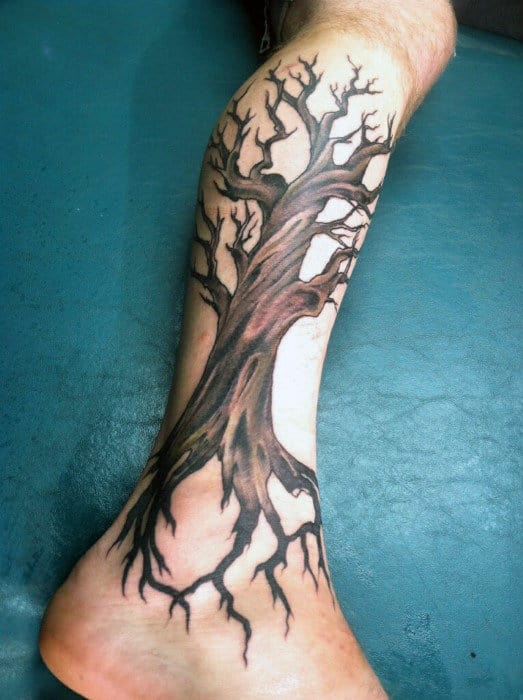 Guys Calves Brown Oak Tree Trunk Tattoo Design Ieas